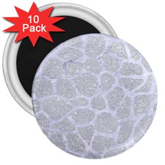 Skin1 White Marble & Silver Glitter (r) 3  Magnets (10 Pack)  by trendistuff