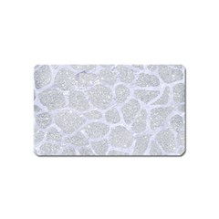 Skin1 White Marble & Silver Glitter (r) Magnet (name Card) by trendistuff