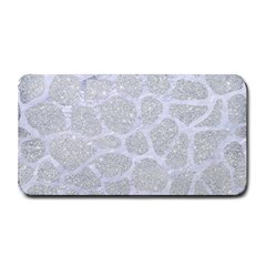 Skin1 White Marble & Silver Glitter (r) Medium Bar Mats by trendistuff