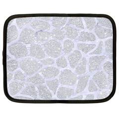 Skin1 White Marble & Silver Glitter (r) Netbook Case (large) by trendistuff