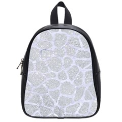 Skin1 White Marble & Silver Glitter (r) School Bag (small) by trendistuff