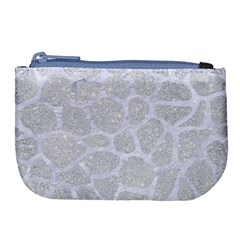 Skin1 White Marble & Silver Glitter (r) Large Coin Purse by trendistuff