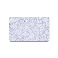 Skin1 White Marble & Silver Glitter Magnet (name Card) by trendistuff