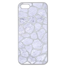 Skin1 White Marble & Silver Glitter Apple Seamless Iphone 5 Case (clear) by trendistuff