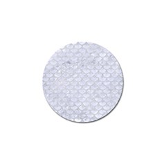 Scales3 White Marble & Silver Glitter (r) Golf Ball Marker by trendistuff