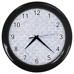 Scales3 White Marble & Silver Glitter Wall Clocks (black) by trendistuff