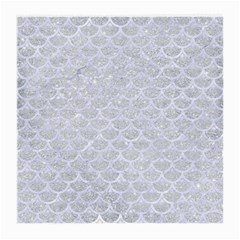 Scales3 White Marble & Silver Glitter Medium Glasses Cloth (2 Side) by trendistuff