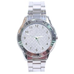 Scales3 White Marble & Silver Glitter Stainless Steel Analogue Watch by trendistuff