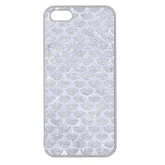 Scales3 White Marble & Silver Glitter Apple Seamless Iphone 5 Case (clear) by trendistuff