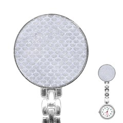 Scales3 White Marble & Silver Glitter Stainless Steel Nurses Watch by trendistuff