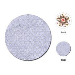Scales2 White Marble & Silver Glitter (r) Playing Cards (round)  by trendistuff