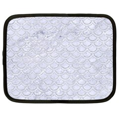 Scales2 White Marble & Silver Glitter (r) Netbook Case (large) by trendistuff