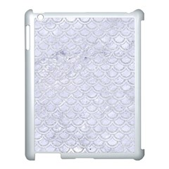 Scales2 White Marble & Silver Glitter (r) Apple Ipad 3/4 Case (white) by trendistuff
