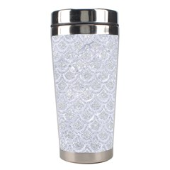 Scales2 White Marble & Silver Glitter Stainless Steel Travel Tumblers by trendistuff