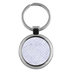 Scales1 White Marble & Silver Glitter (r) Key Chains (round)  by trendistuff