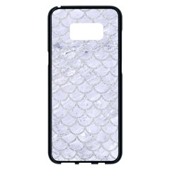 Scales1 White Marble & Silver Glitter (r) Samsung Galaxy S8 Plus Black Seamless Case by trendistuff