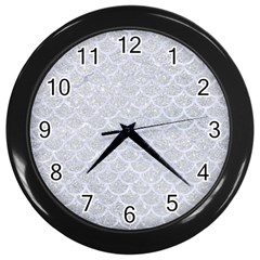 Scales1 White Marble & Silver Glitter Wall Clocks (black) by trendistuff