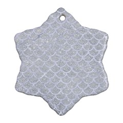 Scales1 White Marble & Silver Glitter Ornament (snowflake) by trendistuff