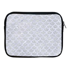 Scales1 White Marble & Silver Glitter Apple Ipad 2/3/4 Zipper Cases