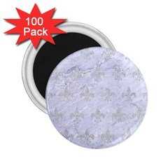 Royal1 White Marble & Silver Glitter 2 25  Magnets (100 Pack)  by trendistuff