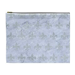 Royal1 White Marble & Silver Glitter Cosmetic Bag (xl) by trendistuff