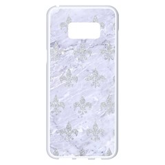 Royal1 White Marble & Silver Glitter Samsung Galaxy S8 Plus White Seamless Case by trendistuff