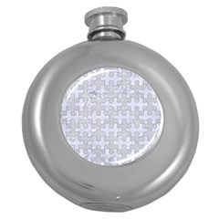 Puzzle1 White Marble & Silver Glitter Round Hip Flask (5 Oz) by trendistuff