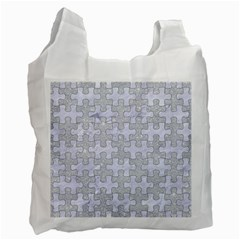 Puzzle1 White Marble & Silver Glitter Recycle Bag (two Side)  by trendistuff