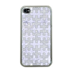 Puzzle1 White Marble & Silver Glitter Apple Iphone 4 Case (clear) by trendistuff