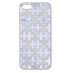 Puzzle1 White Marble & Silver Glitter Apple Seamless Iphone 5 Case (clear) by trendistuff