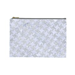 Houndstooth2 White Marble & Silver Glitter Cosmetic Bag (large)  by trendistuff