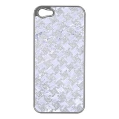Houndstooth2 White Marble & Silver Glitter Apple Iphone 5 Case (silver) by trendistuff