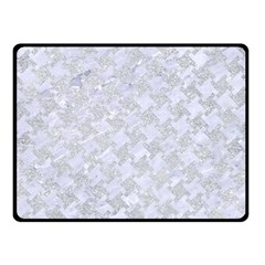 Houndstooth2 White Marble & Silver Glitter Double Sided Fleece Blanket (small)  by trendistuff