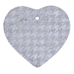 Houndstooth1 White Marble & Silver Glitter Heart Ornament (two Sides) by trendistuff