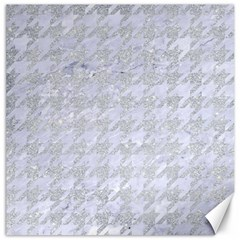 Houndstooth1 White Marble & Silver Glitter Canvas 16  X 16   by trendistuff