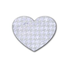 Houndstooth1 White Marble & Silver Glitter Rubber Coaster (heart)  by trendistuff