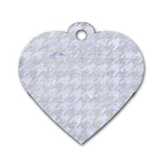 Houndstooth1 White Marble & Silver Glitter Dog Tag Heart (two Sides) by trendistuff