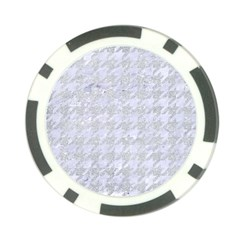 Houndstooth1 White Marble & Silver Glitter Poker Chip Card Guard by trendistuff