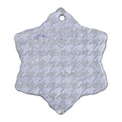 Houndstooth1 White Marble & Silver Glitter Ornament (snowflake) by trendistuff