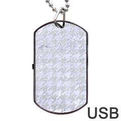 Houndstooth1 White Marble & Silver Glitter Dog Tag Usb Flash (one Side)