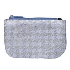 Houndstooth1 White Marble & Silver Glitter Large Coin Purse by trendistuff