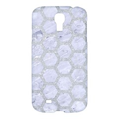 Hexagon2 White Marble & Silver Glitter (r) Samsung Galaxy S4 I9500/i9505 Hardshell Case by trendistuff