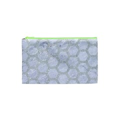 Hexagon2 White Marble & Silver Glitter (r) Cosmetic Bag (xs) by trendistuff