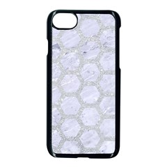 Hexagon2 White Marble & Silver Glitter (r) Apple Iphone 8 Seamless Case (black)