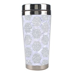 Hexagon2 White Marble & Silver Glitter Stainless Steel Travel Tumblers by trendistuff