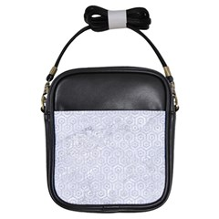 Hexagon1 White Marble & Silver Glitter (r) Girls Sling Bags by trendistuff
