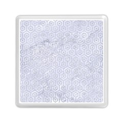 Hexagon1 White Marble & Silver Glitter (r) Memory Card Reader (square)  by trendistuff