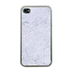 Hexagon1 White Marble & Silver Glitter (r) Apple Iphone 4 Case (clear) by trendistuff