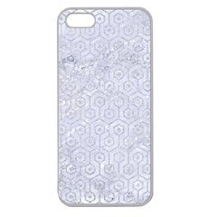 Hexagon1 White Marble & Silver Glitter (r) Apple Seamless Iphone 5 Case (clear) by trendistuff