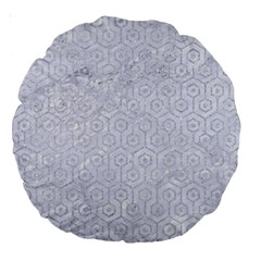Hexagon1 White Marble & Silver Glitter (r) Large 18  Premium Round Cushions by trendistuff